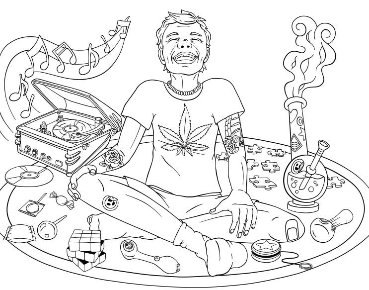 Eternal Child Cannabis Coloring Book Page