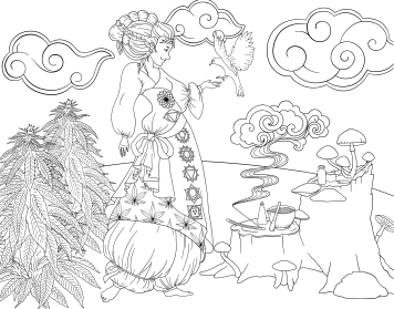 Healer Cannabis Coloring Book Page